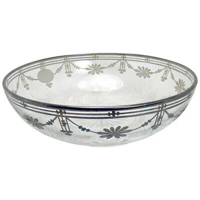 Large Hand Cut Glass Bowl with Sterling Overlay - 1910