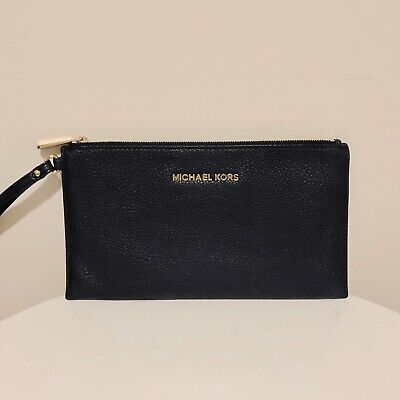 Michael Kors Bedford Black Large Leather Clutch Pouch Wristlet!