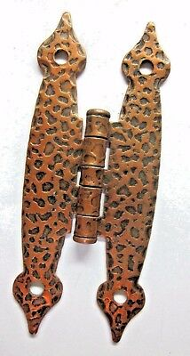 Butterfly Hinge Hammered Leopard Copper Colonial Spade Ends Face Mount 1 Antique