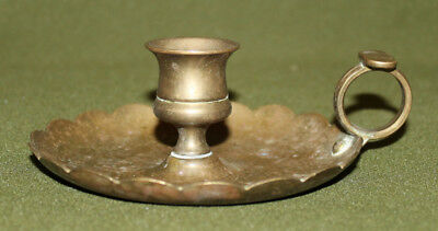 Antique hand made brass candle holder with tray
