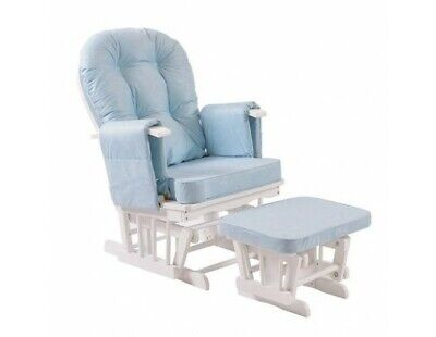 Nursing Chair With Stool White Frame Blue Rocking,Feeding,Mum, Family