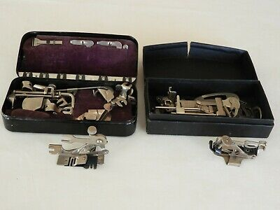 Vtg Greist & E J Toof-Toof's Sewing Machine Attachments Parts Standard Lot Boxes