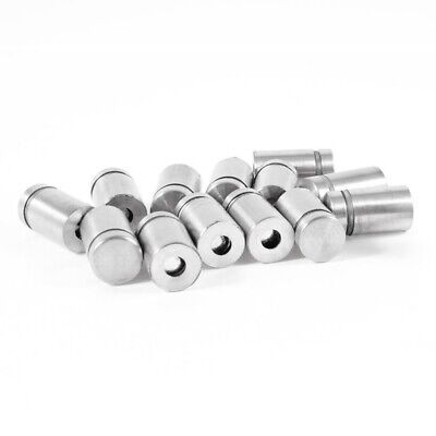 Stainless Steel Advertising Nail Screw Glass Standoff 12 x 20mm 15 Pcs W9Q2 H2T
