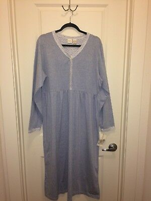 GILLIGAN O'MALLEY Light Chambray Blue Knit Nightgown Long Sleeves NWT L