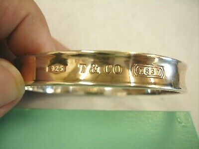 Tiffany & Co. 1837 .925 Sterling Silver Concave Bangle Bracelet 1997 7 1/2 In