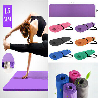 Yoga Mat for Pilates Thick Non Slip Carry Strap Gym Exercise Fitness 15mm NBR