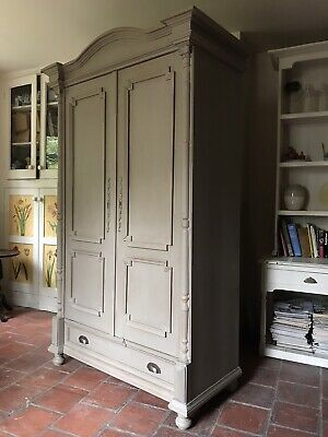 Large Painted Grey Vintage Gustavian Style Pine Hall Cupboard Wardrobe Armoire