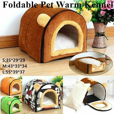 Cat Bed House Pet Small Dog Nest Medium Dogs Foldable Kennel for With Mat