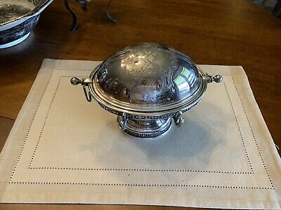 ANTIQUE VICTORIAN SILVER PLATE ROLL TOP BUTTER DISH With M Monogram