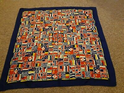 Vintage Silk World Flags Scarf