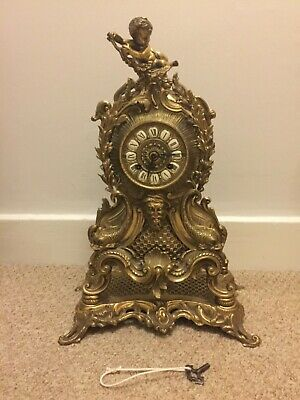 FARBEL Italy Antique Brass 19thCentury Rococo Baroque FRENCH Hermle Mantel Clock