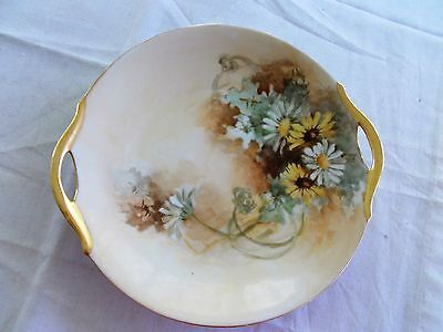 "Vintage 9 1/2"" Beautiful Hand Painted Plate Gold Handles Unbranded From Estate"