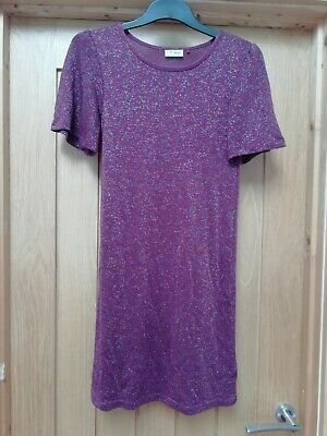 Beautiful Girls New Next Purple / Maroon Glittery Dress Age 12 Years
