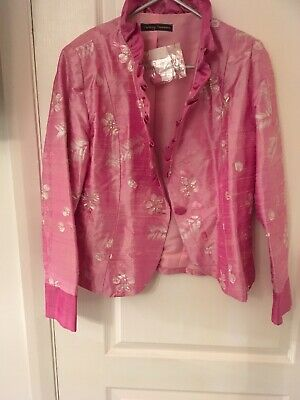 Christine Thompson Pink Silk Jacket Size 14 Mother Of The Bride