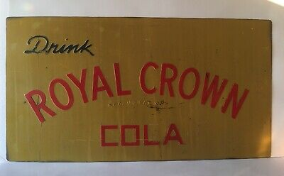 Vintage Yellow Drink Crown Royal Cola Metal Sign Red Blue Embossed Letters 26X14