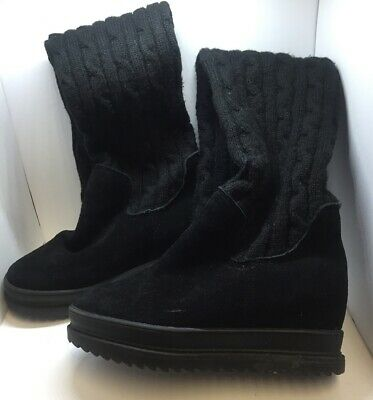 OVER THE KNEE Stretch Black Knit & Suede Wedge Womens Boots Size 7M 🖤🖤