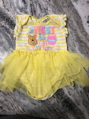 Disney Baby Winnie The Pooh Bodysuit  With Attached Tutu 18 months VGUC Glitter