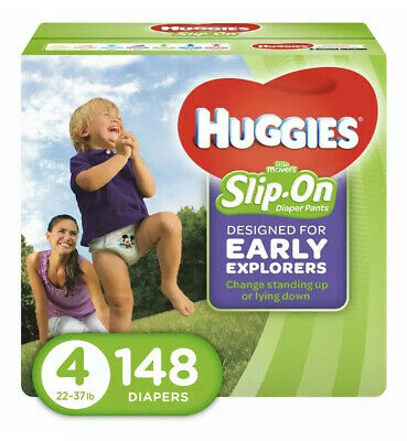 HUGGIES Little Movers Slip On Diaper Pants,Size 4 148 Count Pañales De Bebe