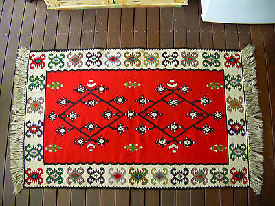 Vintage Turkish Hand Woven Kilim on White Background With Traditional Decoratio