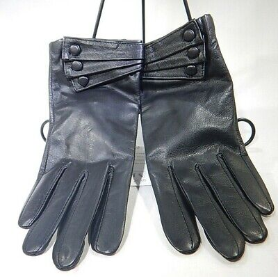 Ambesi Womens Fleece Lined Nappa Leather Winter Gloves Black L T3