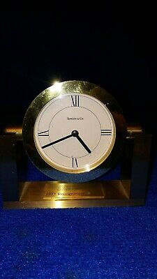 Tiffany & Co. Solid Brass Quartz Art Deco Clock Swiss Made. Desk, Mantle