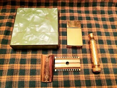 1920'S Gillette New Improved Style Travel Safety Razor Set W/Blade Bank & Case