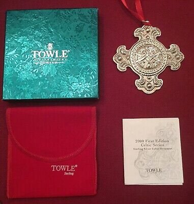2000 Towle Annual First Edition Sterling Silver Celtic Cross Ornament w/Box, Etc