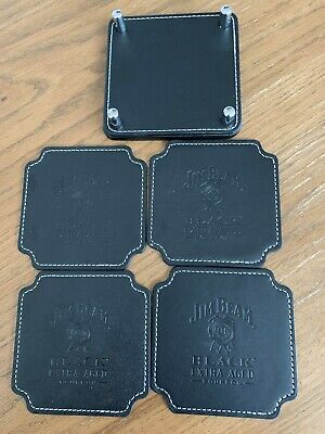 JIM BEAM Leather Coasters x 4 - Brand New