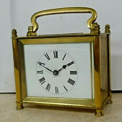 Rare Unusual Antique French Oblong Brass Lantern/ Carriage Clock Working