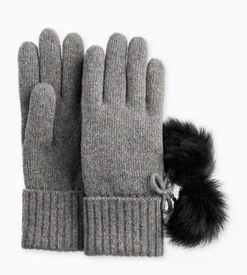 New Womens O/S Grey Heather Ugg 1019571 Ribbed Cashmere Gloves Toscana Fur Poms