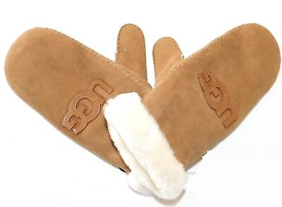New No Tags Womens Large Xl Ugg Heritage Logo Mittens Chestnut Suede Sheepskin