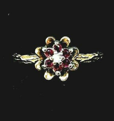 Antique Vintage Signed 14K Solid Yellow Gold Ruby &  Diamond Ring  Size 6 3/4