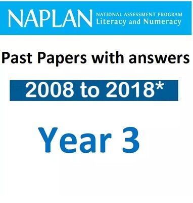 NAPLAN Year 3 Official Past Test Papers Set - 2008-2018* With Solution Answers