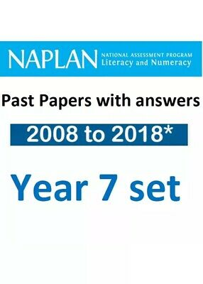 NAPLAN Year 7 Official Past Test Papers 2008-2016 Answers + 2017- 2018 Solutions