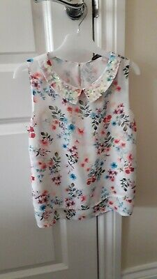 Asda George Girls Pretty Floral Top/Blouse With Collar Age 8-9 Years