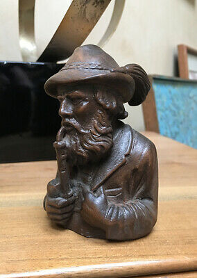 Antique Hand carved German Black forest man smoking pipe
