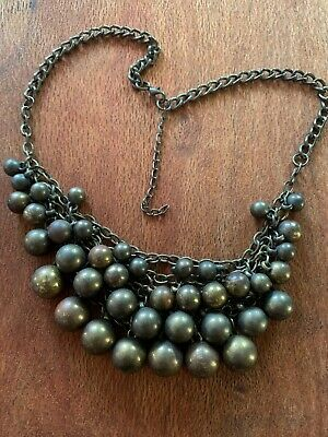 Brass Ball Necklace ( Tarnished ) For Craft  .l18