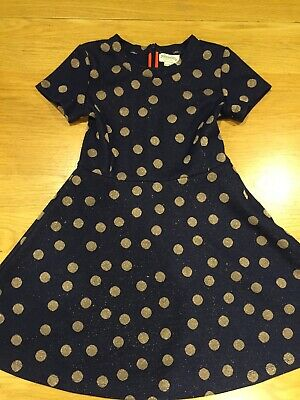 Johnnie B  Boden Girls Blue Gold Spotty Christmas Party Dress Age 9-10 Years