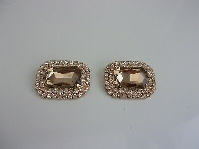 2 Women's Crystal Rhinestone Metal Shoes Clips Bridal Shoe Charms Decor NEW
