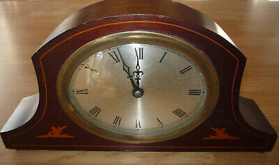Antique Wooden Edwardian Mantle Clock Oval Dial.Not Working Spares Repair