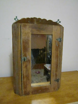 Early 20th century oak wood mirrored corner cabinet