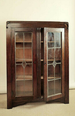 Vintage 1930s/40s display cabinet, dark oak, glazed & leaded, decorative carving