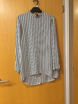 Primark Ladies Top/ Tunic Size 12 Black And White Stripe Zip At Back Of Neck