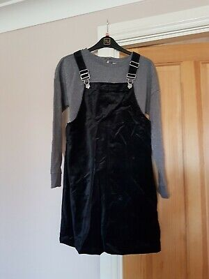 Girls Black Velvety Pinafore Dress And Top From Tu Age 12