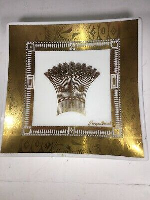 """Georges Briard Square Bent Tray Wheat Mid Century Gold White Glass 6"""""""