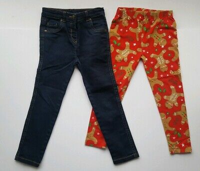 Girls trousers TU jeans Gingerbread man Christmas joblot Age 4 - 5 years
