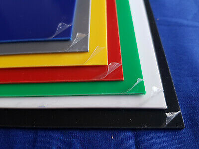 1mm HIPS Plastic Sheet Navy Blue Red Yellow Green Grey Black & White A5 A4 A3