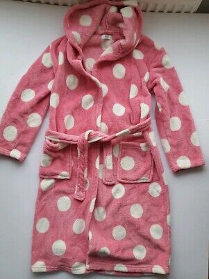 Girls dressing gown with hood pink white F & F age 11 - 12 Years