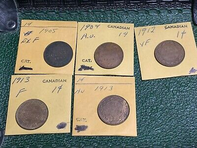 Mixed Lot 5 Five Canada One Cent Canadian Coins 1905 1909 1912 1913x2