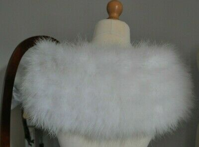"""Luxurious """"Emmerling"""" White Real Marabou Feather Winter Wedding Cape,Stole,Wrap"""
